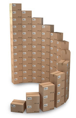 Rising sales, Cardboard boxes concept