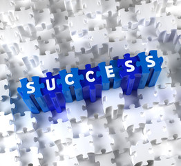 Creative 3D pieces of puzzle and word SUCCESS