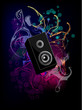 Loudspeaker with abstract background Vector. Music Vector.