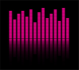 Audio level pink  LED from Music Studio with reflection Vector