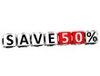 3D Save 50% Button Click Here Block Text