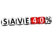 3D Save 40% Button Click Here Block Text
