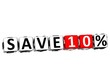 3D Save 10% Button Click Here Block Text