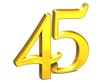 3D Gold Forty-Five on white background