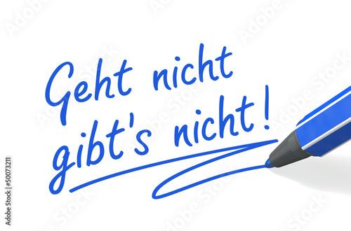 Stift- & Schriftserie: Geht nicht gibt's nicht! blau