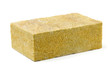 Piece of yellow fiberglass insulation mat