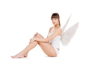 white lingerie angel girl
