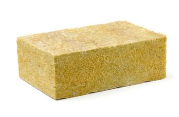 Piece of yellow fiberglass insulation mat