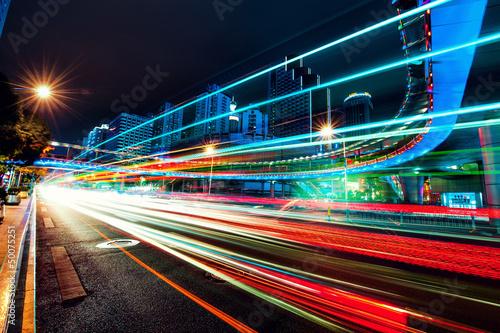 Night car motion in a big city