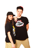 Cool boy and girl hip hop dancer posing