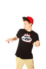 Boy dancing break dance on a white background