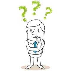 Geschäftsmann, nachdenklich, Fragezeichen
