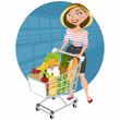 Bella mujer en el supermercado