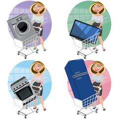 Mujer con electrodomésticos en el carro de la compra