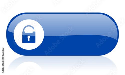 padlock blue web glossy icon