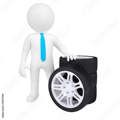3D man holding a car wheel