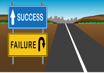 Stock Vector illustration way of Success and Failure Sign 1