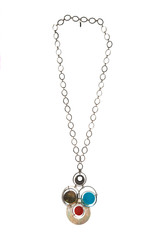 Abstract circles pendant on silver chain collar