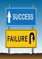 Stock Vector illustration way of Success and Failure Sign 2