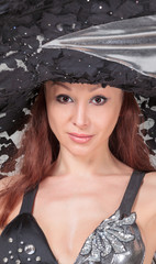 Portrait of Beautiful Lady in a Lace Hat
