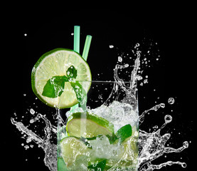 Mojito cocktail over black