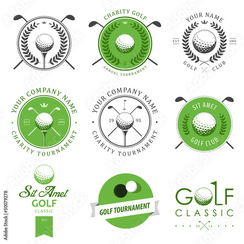 Set of golf club labels and emblems - 50079278