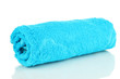 Rolled up blue towel isolated on white