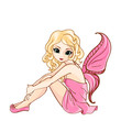 Little cartoon fairy in pink dress