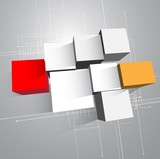 abstract futuristic cube computer technology business background