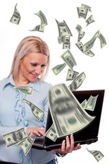 Woman making money online