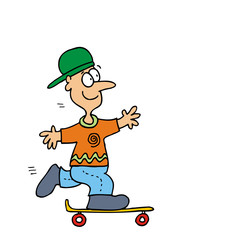 Cartoon Kid on Skateboard