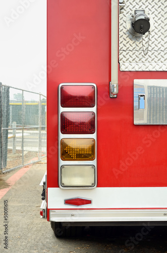 rear end of red firetruck