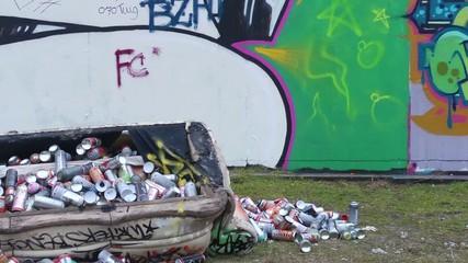 Graffiti wall and artist