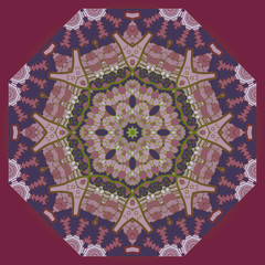 Oriental mandala motif in brown