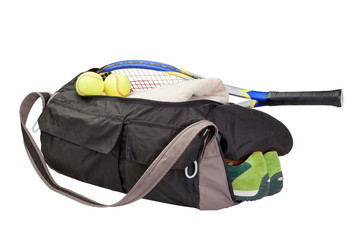 Tennis bag. With the racket and tennis ball.