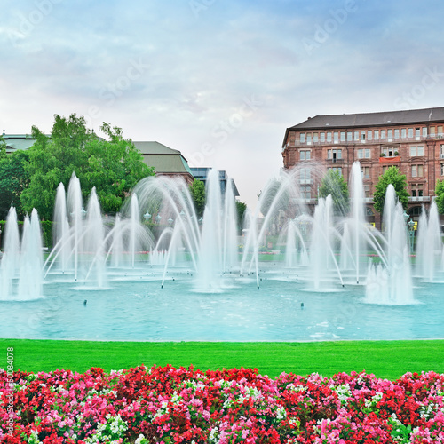Beautiful fountain in the center of Mannheim Germany