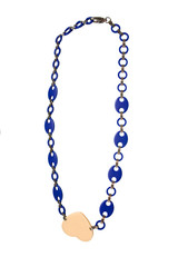 Nude heart pendant on blue links chain