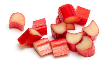 cut rhubarb isolated on white background