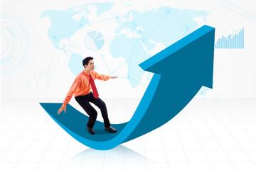 Businessman achieve global profit