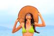 Asian model on the beach
