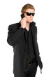 Man in sunglasses with a mobile