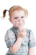 kid girl holding inhaler mask