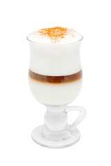Coffee Latte in a clear glass. Isolated on white