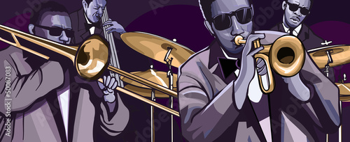 Foto op Canvas Muziekband jazz band with trombonne trumpet double bass and drum