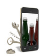 Phone with opener and corkscrew