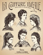 vintage haidresser's placard with 6 hairstyles and antique hats