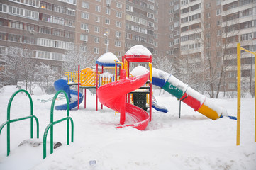 Playground structure during a snowfall, Moscow, Russia