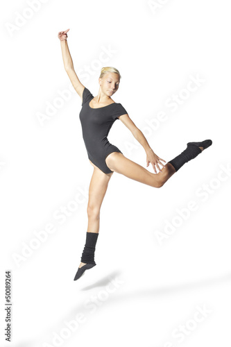beauty girl dance on white background