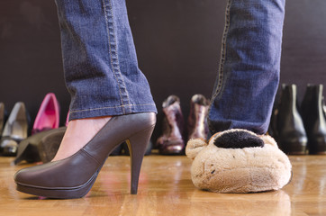 woman trying on shoes at home