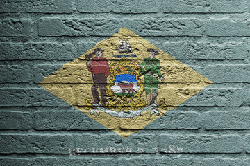 Brick wall with a painting of a flag, Delaware